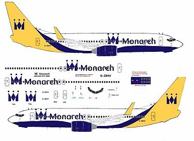 Monarch Boeing 737-800 airliner Decal (1:144 scale) For Revell/ Zvezda kit