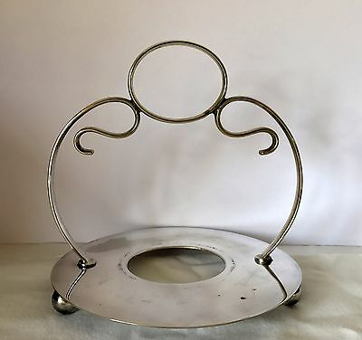 EPNS Tri Footed Silver Plated Basket Stand With Handle  JT & Co LTD Sheffield