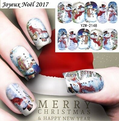 ❤️nouveau Stickers Noel Transfert Water Decals Bijoux Ongles Nail Art