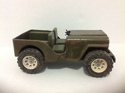 Vintage Tonka Army Green Jeep Xr 101 Jeepster Metal Steel Nice Toy