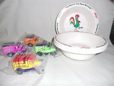 Kellogg's Collectibles - 4 Cereal Bowls & 4 Die Cast Trucks - New / Old Stock