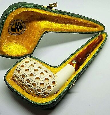 Nice CAO Hand-carved Block Meerschaum Estate Pipe With Case