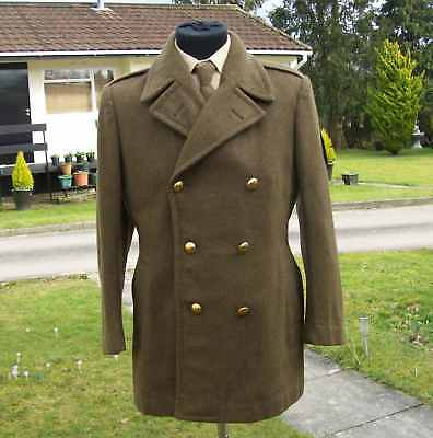 1966 Vietnam French Army 100% Wool Double-Breasted Great Coat Jacket Medium