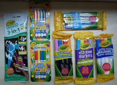 Lot 7 Crayola markers Pip Squeaks Xtreme coloring trial pack extreme poster etc