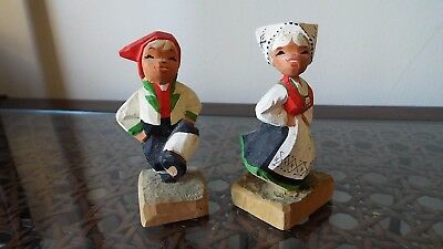 "Vintage or antique Hand Carved Wooden Norway 4"" dancing couple figurines folk"