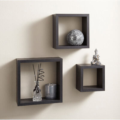 Set Of 3 Light Cubes Wall Mounted Floating Shelves Square Cd Dvd Display Storage