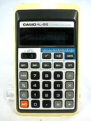 Rare 70´s vintage calculator Taschenrechner CASIO AL - 8 S  + case working
