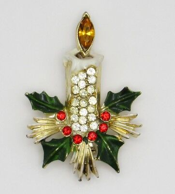 Vintage Signed WEISS Enamel and Rhinestone Christmas Candle Brooch/Pin
