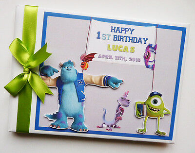 Personalised Monsters University First/1St Birthday Guest Book Any Design