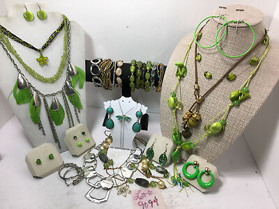 Jewelry Lot Lime Green Dragonfly Feather  Necklace Bracelet Earring 29pc#9094