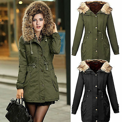 Women's Warm Long Coat Fur Collar Fleece Hooded Jacket Slim Winter Parka Outwear