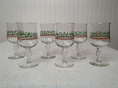 Arby's Christmas Holly Berry with Bow Stem wine/water goblets, set of 6
