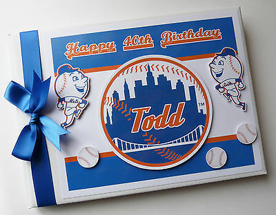 Personalised Ny Mets First/1St Birthday Guest Book Any Design