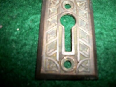 Brass-Antique Ornate  Eastlake Key Hole Escutcheon Cover-Skeleton Key-Lock