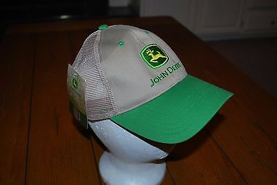 JOHN DEERE Tan and Green Twill Mesh CAP HAT Adjustable ~ New with Tag
