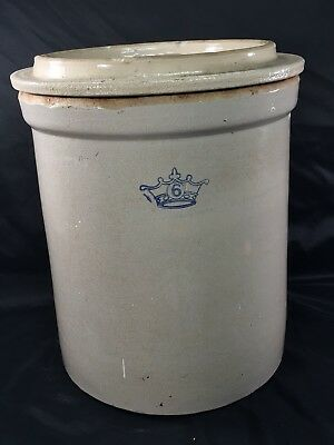 Vintage 6 Gallon Robinson Ransbottom Stoneware Crock with Top  - Ivory No Cracks