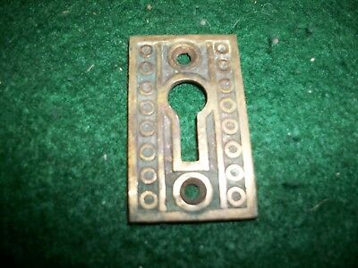 Cast Antique Ornate Brass Eastlake Key Hole Escutcheon Cover-Skeleton Key-Lock