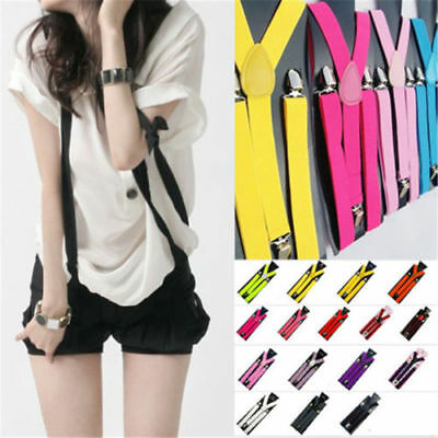 Mens Womens Elastic Clip-on Solid Color Y-Shape Adjustable Braces Suspenders ZC