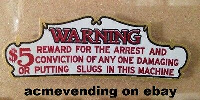 WARNING AGAINST TAMPERING REWARD Decal Sticker Gumball Vending Machine or Slot