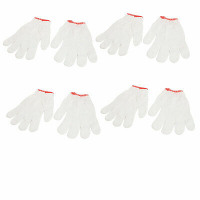 4 Pairs Striped Palm Safe Factory Working Clean Gloves White