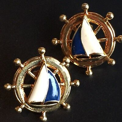 Vtg Gold Enamel Nautical Designer Runway Earrings -90