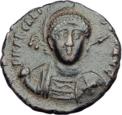 ARCADIUS with CROSS Original 401AD Antioch Authentic Ancient Roman Coin i64919