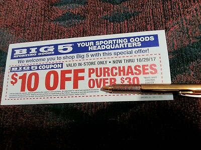 Big 5 Sporting Goods $10 Off $30 Purchase Or More