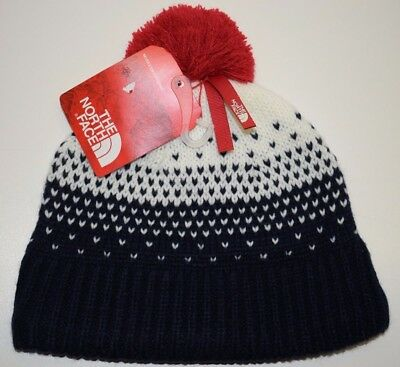 0645cd4d23d The North Face Girls Youth Pom Pom Beanie Snow Winter Hat Blue Size S NEW