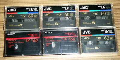 6x Brand New Sealed JVC & Sony Mini DV Cassette Tapes / DVM60