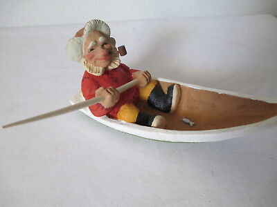 Vintage Henning Fisherman In Boat Carved By Hand In Norway Mint