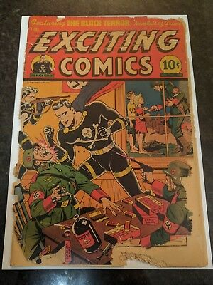exciting comics no.39 classic cover by Alex Schomburg Golden age Nazi cover.