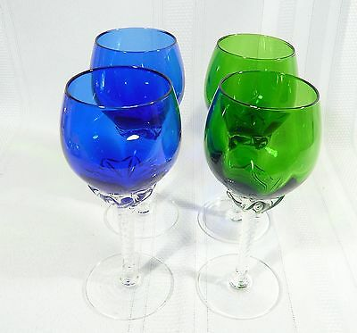 4 Colony Pirouette WINE GLASSES 2 COBALT BLUE & 2 EMERALD GREEN Twisted Stem