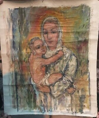 Rare Mathias Barz (Germany, 1895-1982), Madonna and Child Oil on Canvas