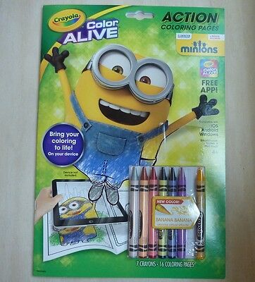 Crayola Color Alive Minions action coloring pages book with crayons, 2015