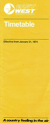 East-West Airlines Timetable 1974