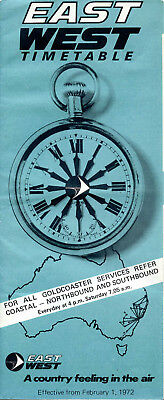 East-West Airlines System Timetable 1972