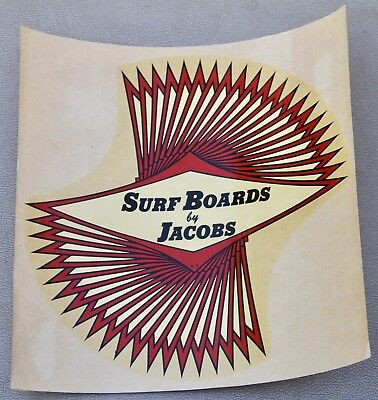 Vintage Rare 1960s Surfboards by Jacobs Waterslide Surf  Decal Large Size