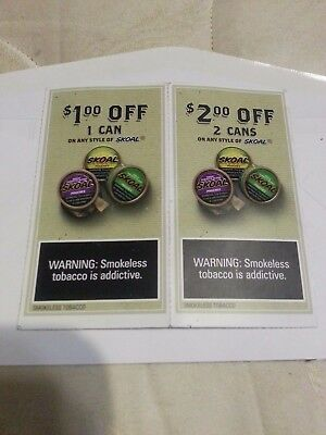 Skoal Chewing Tobacco $1 Off One Can + $2 Off 2 Cans Coupons