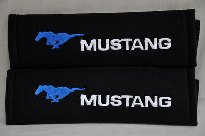 Black Seat Belt Cover Shoulder Pad Pairs Embroidery Ford Mustang Blue Horse Logo