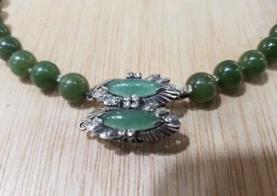 Vintage necklace with jade and 14k white gold pendant with diamond