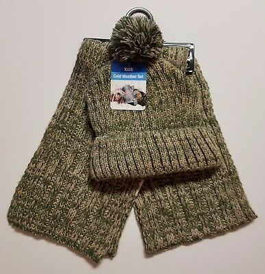 GMI GOLD MEDAL Kids 2pc Variegated Rib Knit Pom Pom Hat & Scarf Set OLIVE