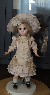 silk dress and hat for your beautiful French  antique doll .