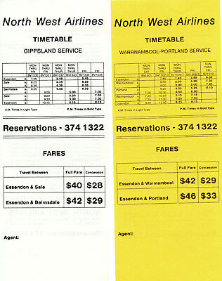 North West Airlines Australia Timetables