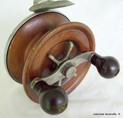 Alvey   TEAK WOOD & metal Vintage fishing reel RARE