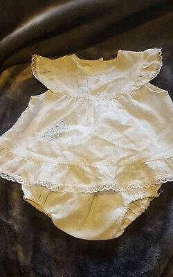 Vintage Baby Outfit - Blue & White Floral - 00