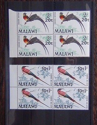 Malawi 1970 Birds Decimal Currency 10t on 1s 20t on 2s in block x 4 MNH