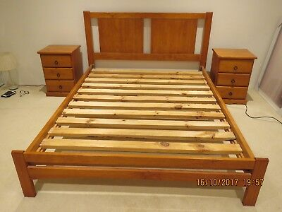 Queen Bed Base and 2 Bedside Tables