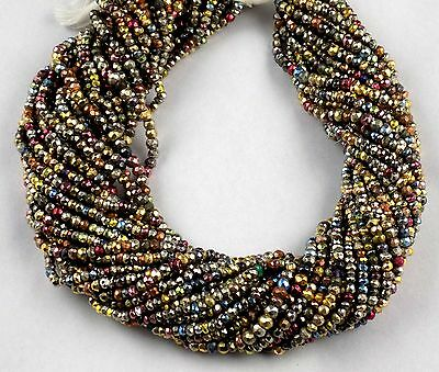 """5 Strand Lovely Mix Multi Pyrite Faceted Rondelle Shape Beads 3-3.5mm 13"""" Long"""