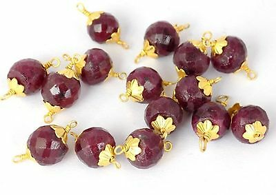 10 Pcs Ruby Corundum Loose Gemstone 8.5mm Faceted Rondelle Wire Wrapped Beads