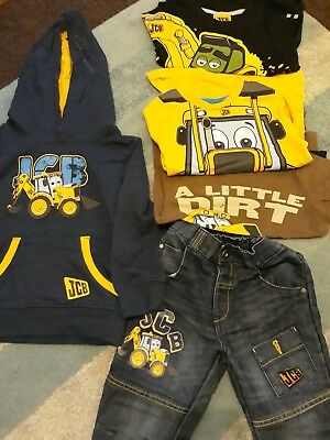Jcb Digger Boys Clothes Bundle Tops Jeans Hoodie 3-4 Years 5 Piece Outfit